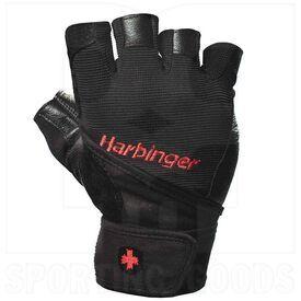 114040 Harbinger Pro Wristwrap Weightlifting Gloves Black