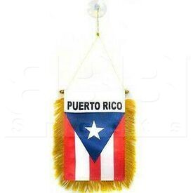 """603 Puerto Rico Mini Flag 4"""" x 6"""" Window Banner w/ Brass Staff and Suction Cup Double Sided"""
