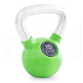 SDKR-15 CAP Barbell Rubber Coated Kettlebell Green with Chrome Handle 15 Lbs