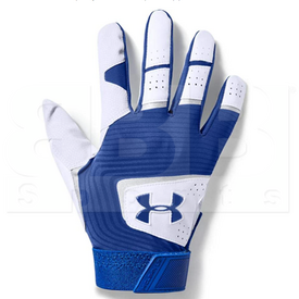 1971-WHRO-L Under Armour Clean Up Batting Gloves White w/ Royal Blue
