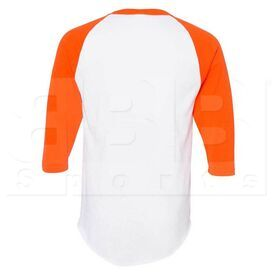 4420.227.L Augusta Sportswear White/Orange Three-Quarter Raglan Sleeve Baseball Jersey