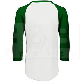 4421.232.S Augusta Sportswear White/Dark Green Three-Quarter Raglan Sleeve Baseball Jersey