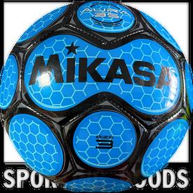 SAR3-RO Mikasa Aura Leather Soccer Ball Size 3 Royal/Black