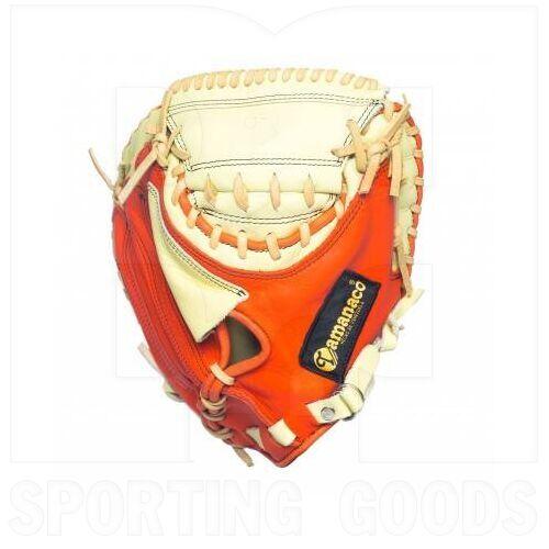 """STCM-CO Tamanaco Catcher's Mitt Natural Leather 33.5"""" Orange/Cream RHT"""