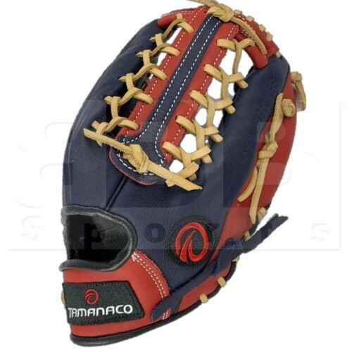 """ST1302-NSC Tamanaco ST-Series Natural Leather Outfield Glove 13"""" Navy/Scarlet/Cream RHT"""