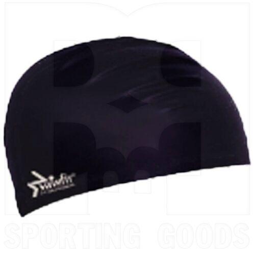 302090BK Swimfit Solid Silicone Adult Swim Cap Black