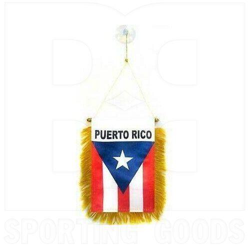 """603 Puerto Rico Mini Bandera de 4 """"x 6"""" con Bastón de Latón y Ventosa de Doble Cara"""