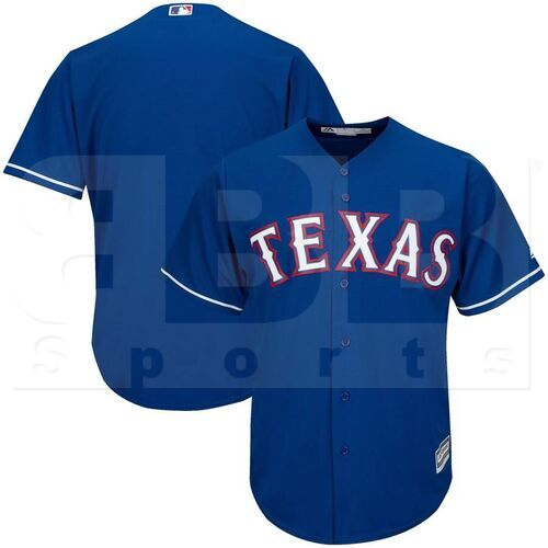 6840-974G-TRA-M6A-M Majestic Adult MLB Cool Base Pro Style Game Texas Rangers Royal Jersey