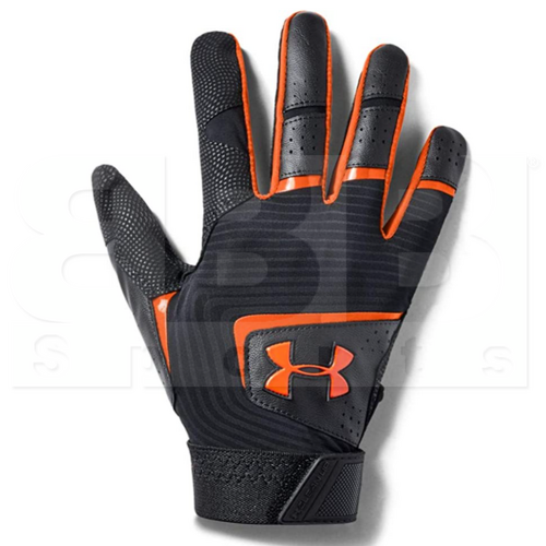 1971-BKOR-L Under Armour Clean Up Batting Gloves Black w/ Orange