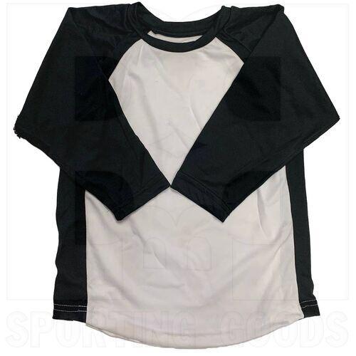 BS29-BK-YS Champro Youth 3/4 Sleeve Shirt Black/White