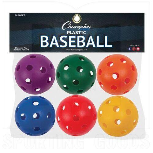 PLBBSET Champion Sports Plastic Baseball Assorted Color Set