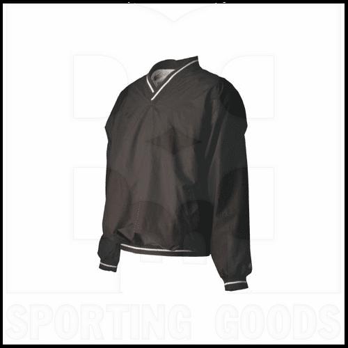 RYVNW-BK-XL Rawlings Long Sleeve V-Neck Pullover Windbreaker Jacket Water Repellent