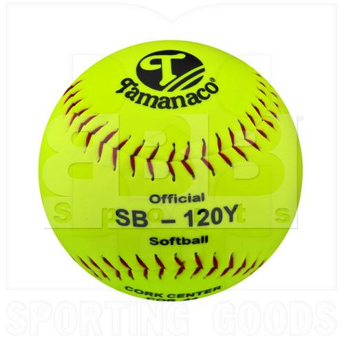 "SB-120Y Tamanaco Softball Official Ball 12"" Cork PU Yellow PVC w/ Red Stitch 9oz Dozen"