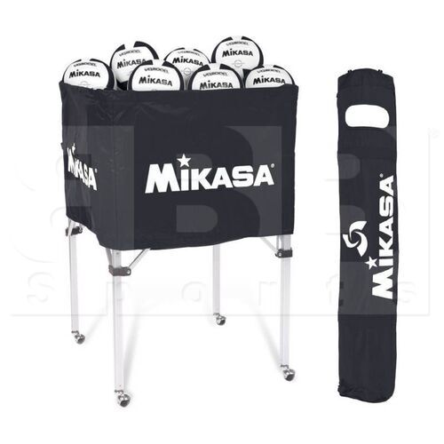 "BCSP-BK  MIkasa Classic Collapsible 25"" x 25"" x 40"" Balls Storage Cart w/ Carry Bag"