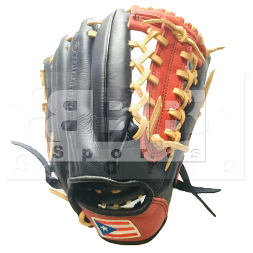 """ST1172-FPRNS Tamanaco ST-Series Puerto Rico Edition Natural Leather Infield/Pitcher Glove 11.75"""" Navy/Scarlet RHT"""