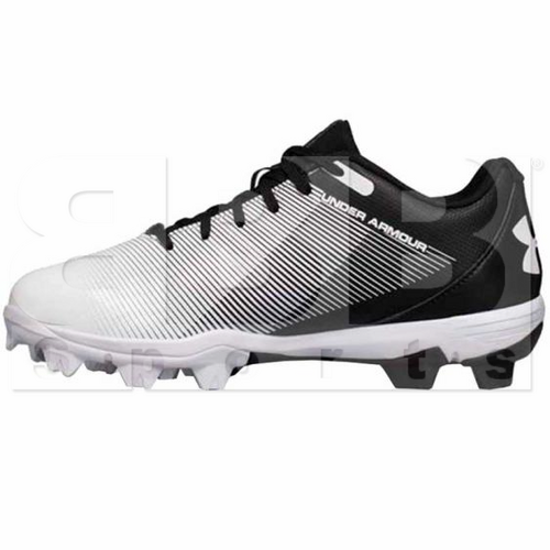 1297316-011-12K Under Armour Leadoff Youth Low RM Molded Cleats Black/White