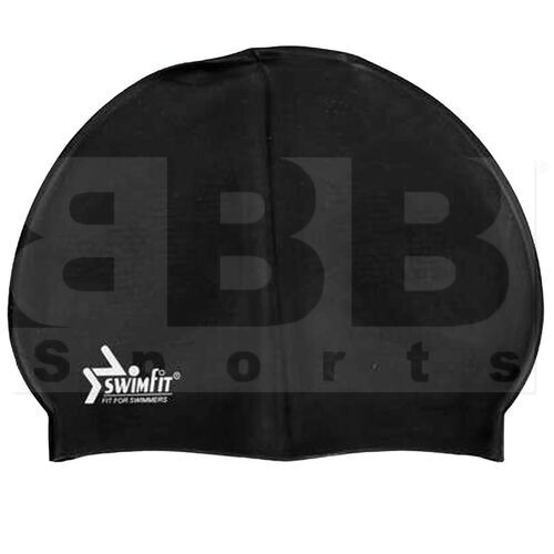 302090J Swimfit Solid Silicone Youth Swim Cap Black