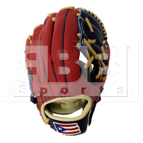 """ST1101-FPRNS Tamanaco ST-Series Puerto Rico Edition Natural Leather Infield Glove 11"""" Navy/Scarlet RHT"""