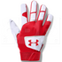 1970-WHSC-M Under Armour Clean Up Batting Gloves White w/ Red